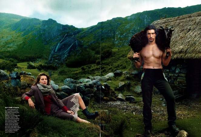Editorial - Vogue US September 2013 Wild Irish Rose Daria Werbowy Adam Driver by Annie Leibovitz 7
