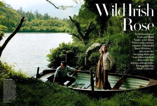 Editorial - Vogue US September 2013 Wild Irish Rose Daria Werbowy Adam Driver by Annie Leibovitz