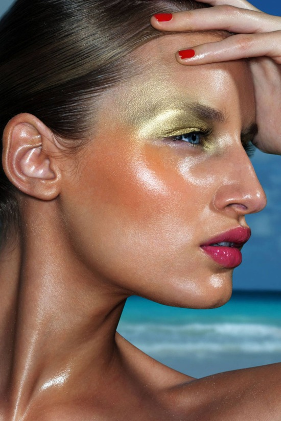 gold eye shadow. red nails, beauty editorial