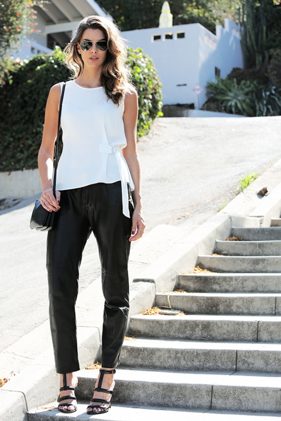 Leather trouser, street style, Zara Tank, the look by v