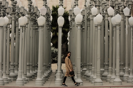 LACMA lights, girl walking, Nike, just do it