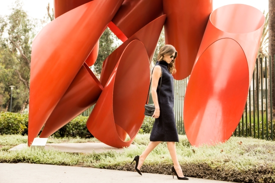 Girl walking at LACMA, Red Statue, Fashion, Veronica Taylor